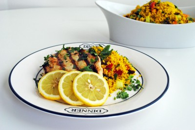Grilled Lemon Chicken and Moroccan Couscous Salad 1