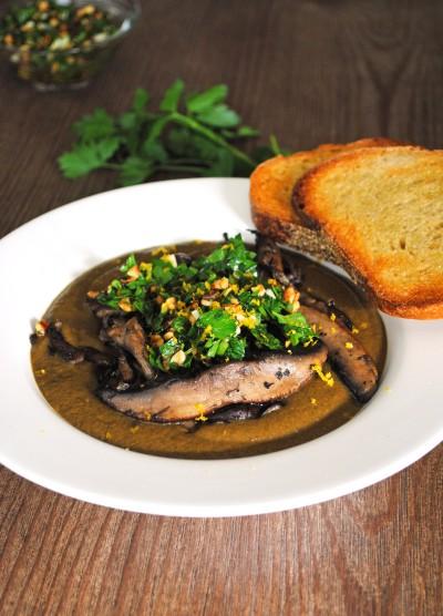 Mushroom Soup with Hazelnut Gremolata 2