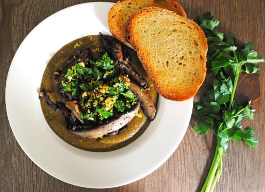 Mushroom Soup with Hazelnut Gremolata 3