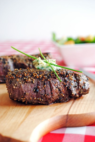 Pepper-Crusted Filet Mignon with Blue Cheese-Chive Butter 9
