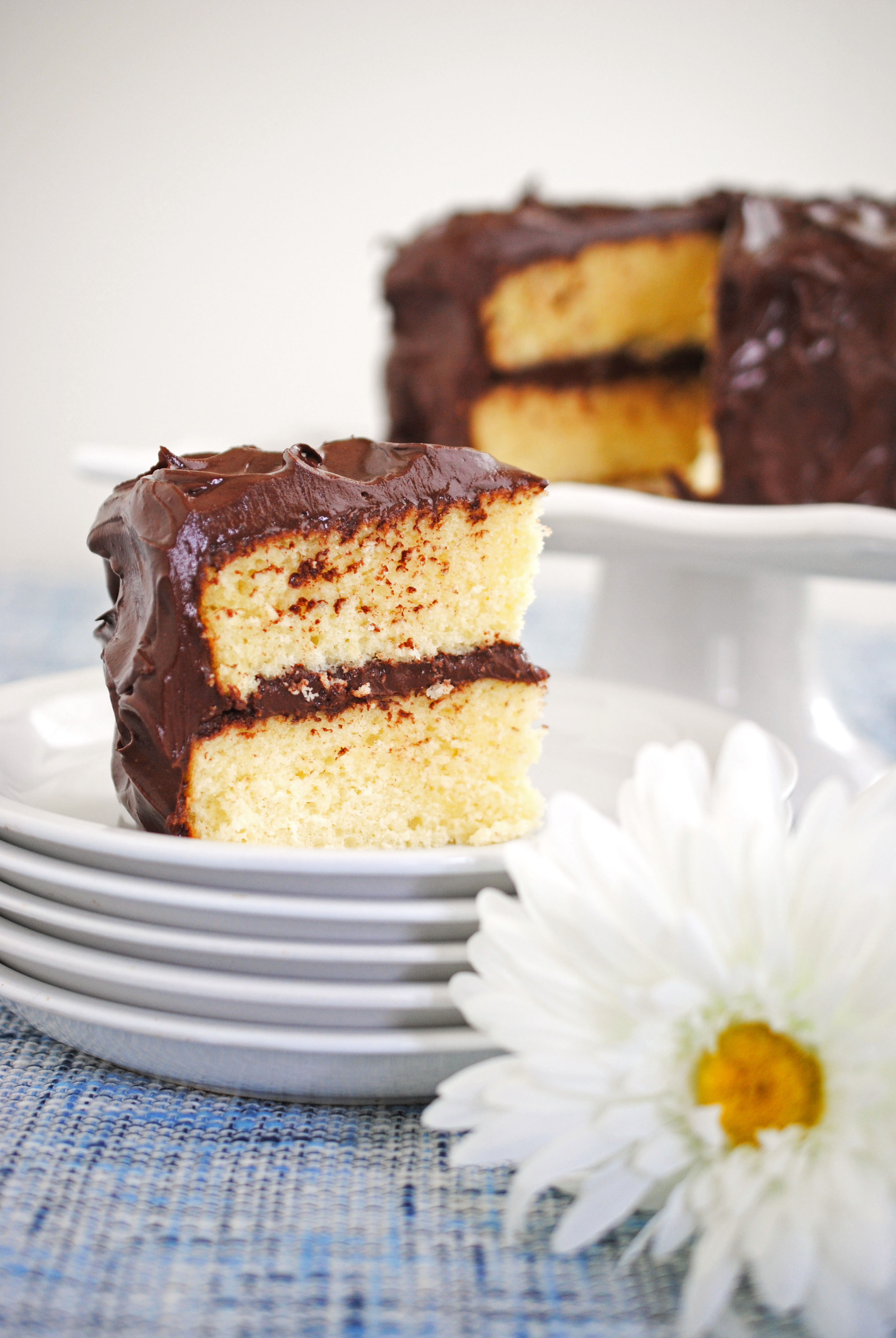Yellow Cake with Chocolate Frosting | The Cake Chica