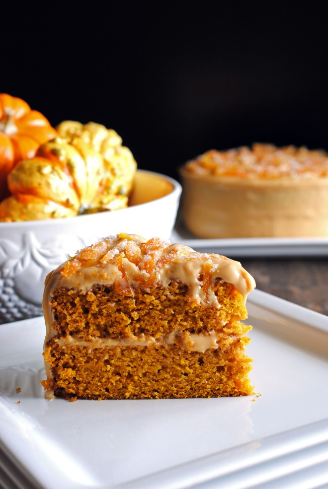 Pumpkin Spice Layer Cake with Caramel-Cream Cheese Frosting